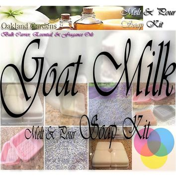 GOAT MILK Melt and Pour MP Soap Making Kit - Excellent Indoor Activity, Good Clean Fun, Hobby, Party Favors - Soap Making Kit By Oakland Gardens