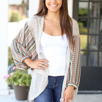 Wide Arm Aztec Cardigan - Oatmeal