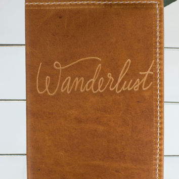 Leather Passport Travel Wallet Wanderlust Engraved Design