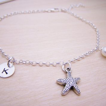 Personalized Initial Anklet -  Sterling Silver Starfish Anklet