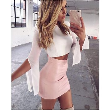 2017 New Arrivals Ultra Perfect PU Leather Skirt Women Pink Mini Skirt Sexy Bodycon High Waist Pencil Skirt Outfits