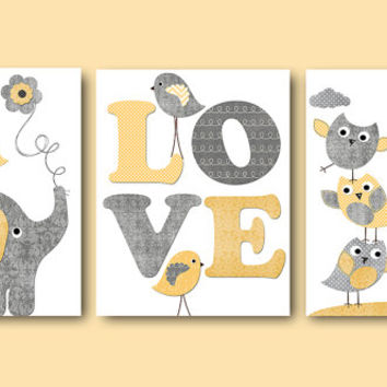 Kids Room Decor Baby Nursery Decor Kids Art Kids Wall Art Baby Boy Nursery Art Prints Set of 3 8x10 Gray Cream Giraffe Elephant Owls Bird