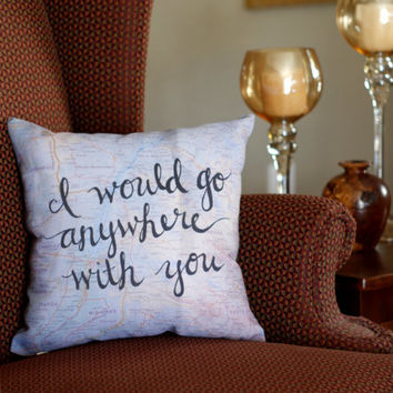 Travel Quote Throw Pillows - Valentines Day Gifts for Husband - Map Pillow Decorative Pillow Quote - Love Gifts Art Pillow Travel Gifts