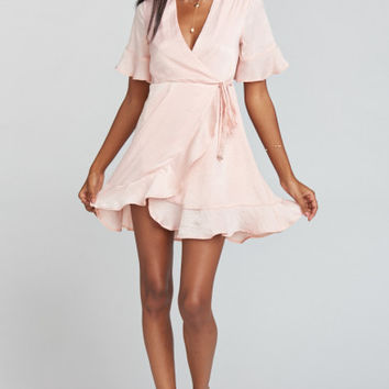 Evelyn Mini Wrap Dress ~ Icy Pink Sheen