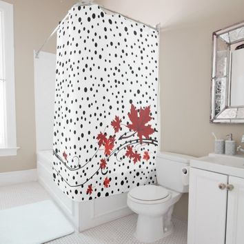 Red maple leaves and black polka dots shower curtain