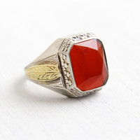 SALE - Antique Art Deco 10k White & Yellow Gold Carnealian Ring - 1920s Size 10 1/4 Two Tone Mens Red Gem Fine Jewelry Hallmarked La France