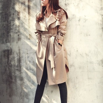 Fashion Winter Spring Autumn Casual Women's Loose Long Sleeve Leisure Long Trench Coat outwear khaki S-XXX = 1930299780