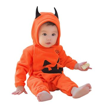 Baby winter clothes newborn Infant Baby Boys Girls Halloween Pumpkin Hooded Romper Jumpsuit Clothes Playsuit cute party gifts