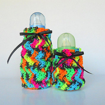Baby Bottle Covers Two Blue Pink Yellow Orange  Green Black  Cozy Feeding Accessory Set  Small And Large 2 Cozies  Shower Gift