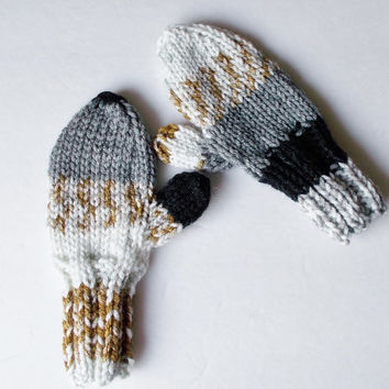Hand Knit Toddler Mittens, Size 1 to 2 Years, Warm Winter Mittens, Ready To Ship, Multicolor Print, Boy or Girl Hand Warmers 12 to 24 Months