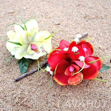 Orchid Wonder Red Hawaiian Flower Hair Clip