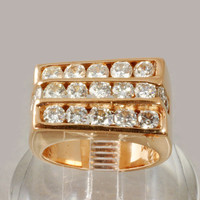 Estate Jewelry - Men's 14K Gold Rose Gold Diamond Ring 2.85 CWT - Size 8-1/2