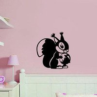 Squirrel wall decal, squirrel stickers, nursery wall stickers, outdoor stickers, boy stickers, girl wall decals, nursery wall decor /i78