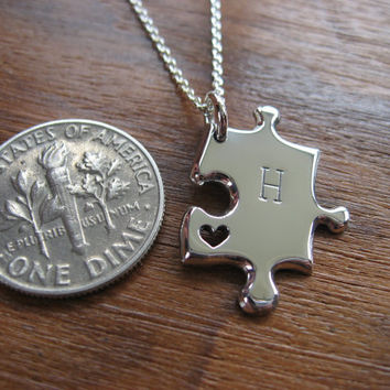 Miniature Personalised Silver Jigsaw Puzzle with Heart Pendant Necklace