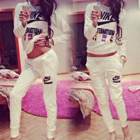 """NIKE"" Casual Print Top Blouse Sweater Pants Trousers Set Two-Piece"