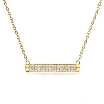 Cubic Zirconia Bar Necklace - Simple Horizontal Bar Necklaces for Women