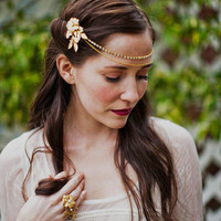 Rhinestone and chain headpiece with brass flower pins, style 505