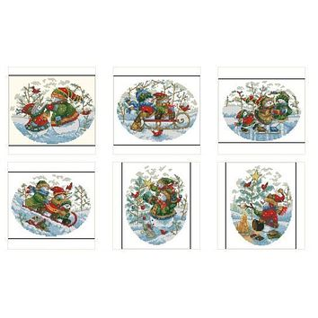 Top Quality Lovely Counted Cross Stitch Kit Snowman Snowmen Ornament Christmas Tree Ornaments Snow Man Sleigh Dim 0882