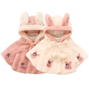 New fashion Baby warm clothing Cute Plush Cloak Princess Coat Jacket Baby Clothes for girl baby 2 types