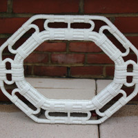Vintage Homco white bamboo wicker design mirror