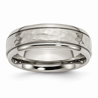 Men's Titanium Grooved Edge Hammered and Polished Wedding Band Ring: RingSize: 8.5