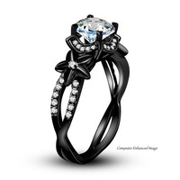 He love me .... Black Flower Ring accented by Vines of White CZ's Star Shape Flowers AAA CZ Center Stone Women's Engagement Statement Special Occasion Jewelry Rings