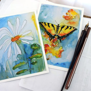 Set of TWO Art Prints 5x7 - Daisy with Butterfly - Gift for Her - Nature Lover - Gift for Birthday