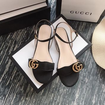 2018 Gucci series new flat sandals 6.5cm high black