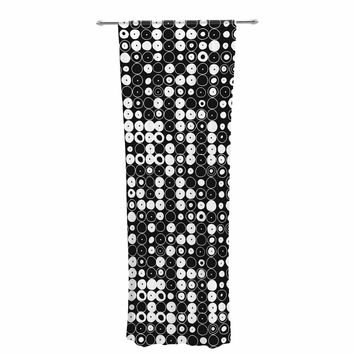 "Nandita Singh ""White & Black Funny Polka Dots "" Black Abstract Decorative Sheer Curtain"