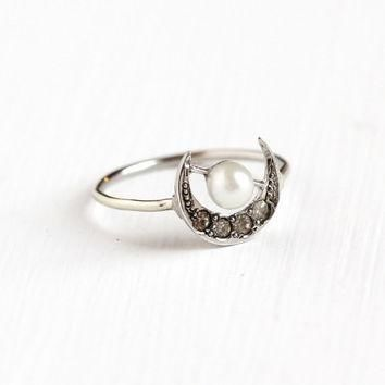 Antique Sterling Silver Crescent Moon Ring - Vintage Edwardian Early 1900s Stick Pin L