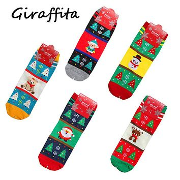Christmas Happy New Years Women Socks Elk Snowflake Santa Claus Snowman Pattern Sock Cotton Middle Tube Socks Women's Clothing