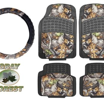 Surreal Camouflage 5 Piece Car Truck Floor Mat Set & Camo- Universal All Weather Waterproof with Forest Pattern Black Color + FREE WASH MITT