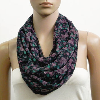 Black Infinity Scarf Shawl Purple Floral Fashion Scarves for Women Circle Cowl Scarf Long Soft Tube Scarf Summer Scarf Gift for her Handmade