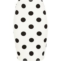 River Island Girls cream polka dot tube skirt