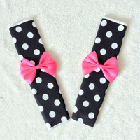 1 pair of Car Automotive Seat Belt Cover -Black and White Polka dots (big spots #B )w/ hot pink bows, unique car accessories decors