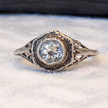 Antique Pierced Sterling Aquamarine Ring by ReadymadeJewelry