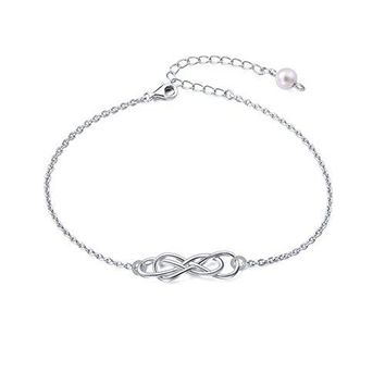 DAOCHONG S925 Sterling Silver Double Infinity Adjustable Link Bracelet for Women Mother Girl