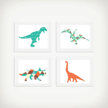 Dinosaur Tribal Art Print Set - Children's Wall Art - Toddler Room Decor - Dinosaur Art - Set of 4
