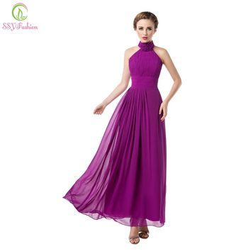 New Women's Sexy Chiffon Halter Evening Dress Long Formal Prom Dress The Bridal Lace-up Party Dresses