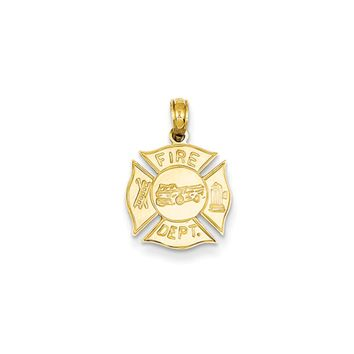 14k Yellow Gold Polished Fire Department Shield Pendant