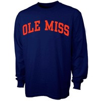 Mississippi Rebels Navy Vertical Arch Long Sleeve T-shirt