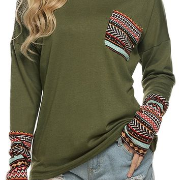 POGTMM Women's Long Sleeve O-Neck Patchwork Casual Loose T-Shirts