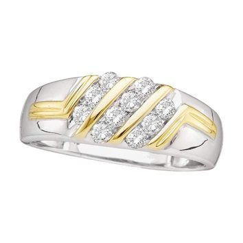 10kt Two-tone Gold Mens Round Diamond Wedding Band Ring 1/2 Cttw