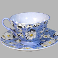 Vintage Shelley Teacup Saucer Chintz Blue Daisy 13451