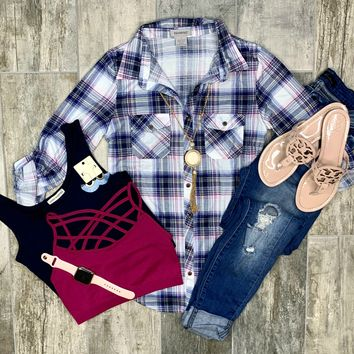 Penny Plaid Flannel Top - Blue/Pink/White