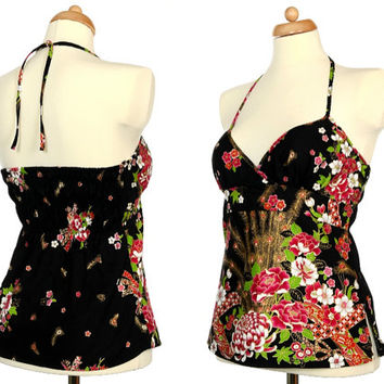 Shakura, Roses And Peacock Feather Top - Vintage Floral Print Cotton Halter Top