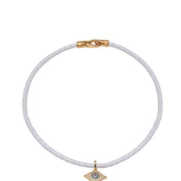 White Leather Choker with Evil Eye Charm