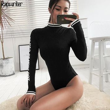 Rapwriter Sexy Skinny Panelled Turtleneck Knitted Bodysuits Women 2018 Autumn Winter Long Sleeve Bodycon Sheer Letter Bodysuit