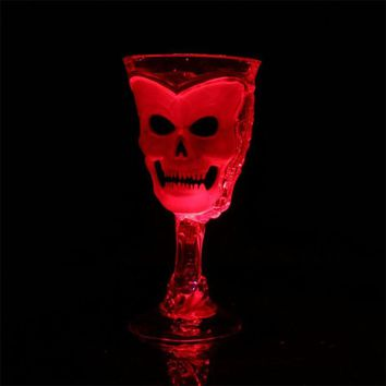 Cup Halloween Theme Luminous 3D Skull Cup Horror Fancy Beer Red Wine Cup with LED lamp and button battery 2017