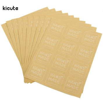 120pcs/lot Kraft Paper Craft Sticker Hand Made Labels For Scrapbooking Envelopes Cupcake Party Gift Package Sealing Stickers